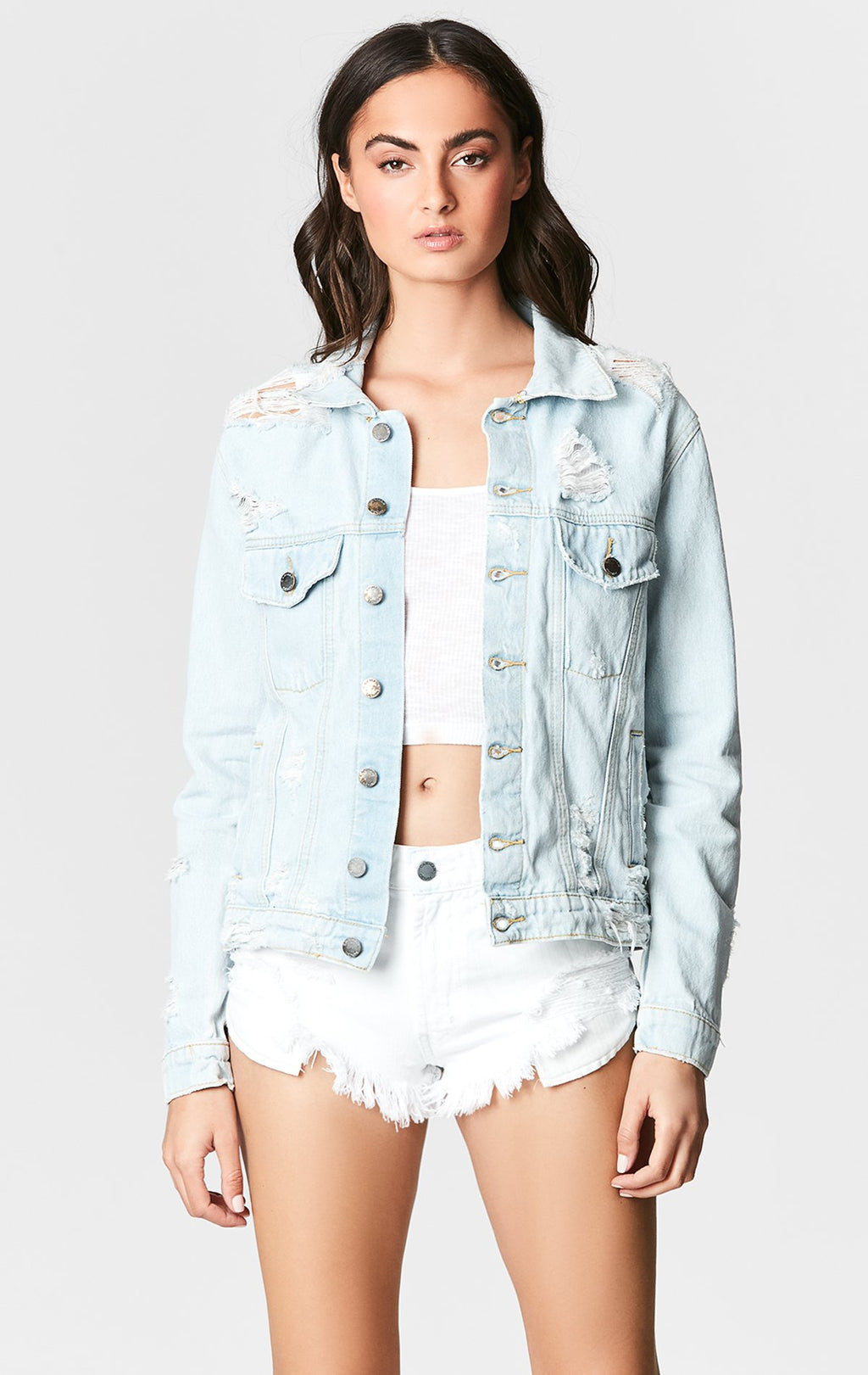CARMARDENIM ESTRELLA OTHELLO SHREDDED DENIM JACKET FRONT