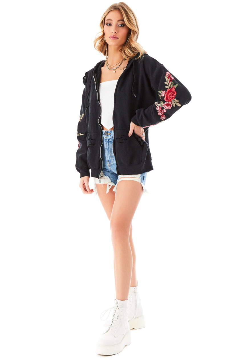 ROSE EMBROIDERED RIPPED ZIP UP BLACK 2
