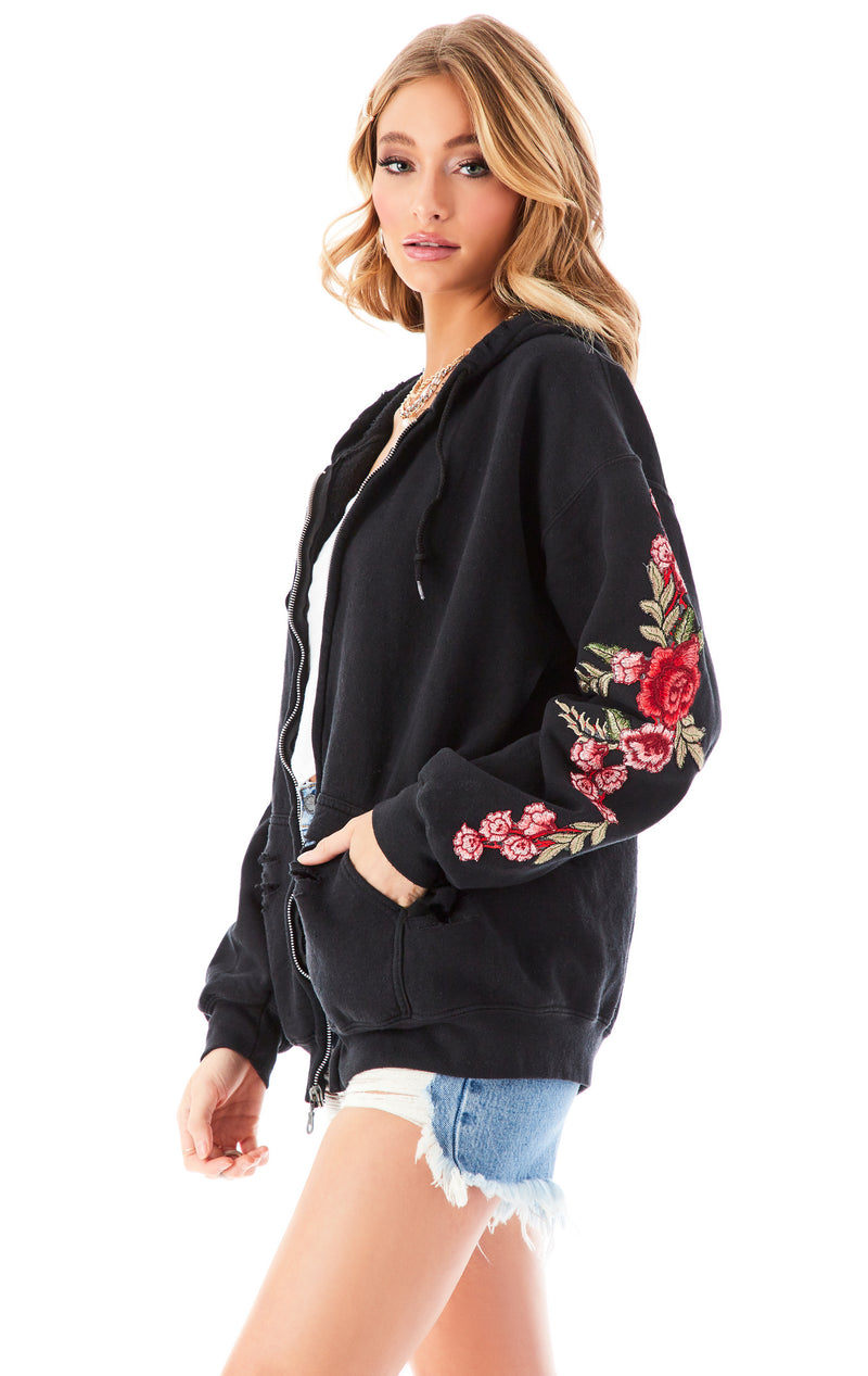 ROSE EMBROIDERED RIPPED ZIP UP BLACK