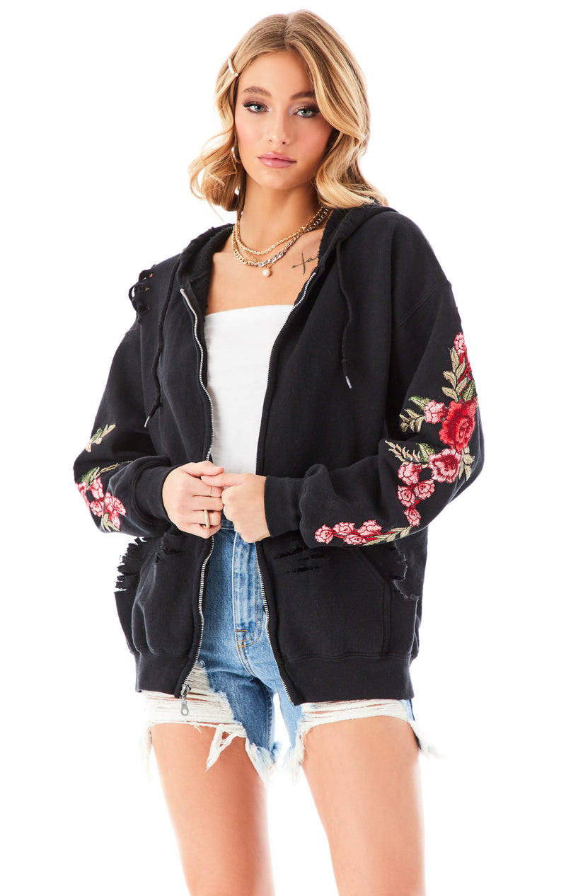 ROSE EMBROIDERED RIPPED ZIP UP BLACK 3
