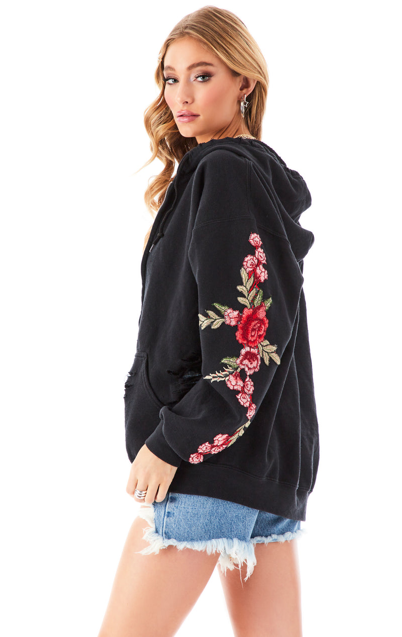 ROSE EMBROIDERED RIPPED ZIP UP BLACK 5