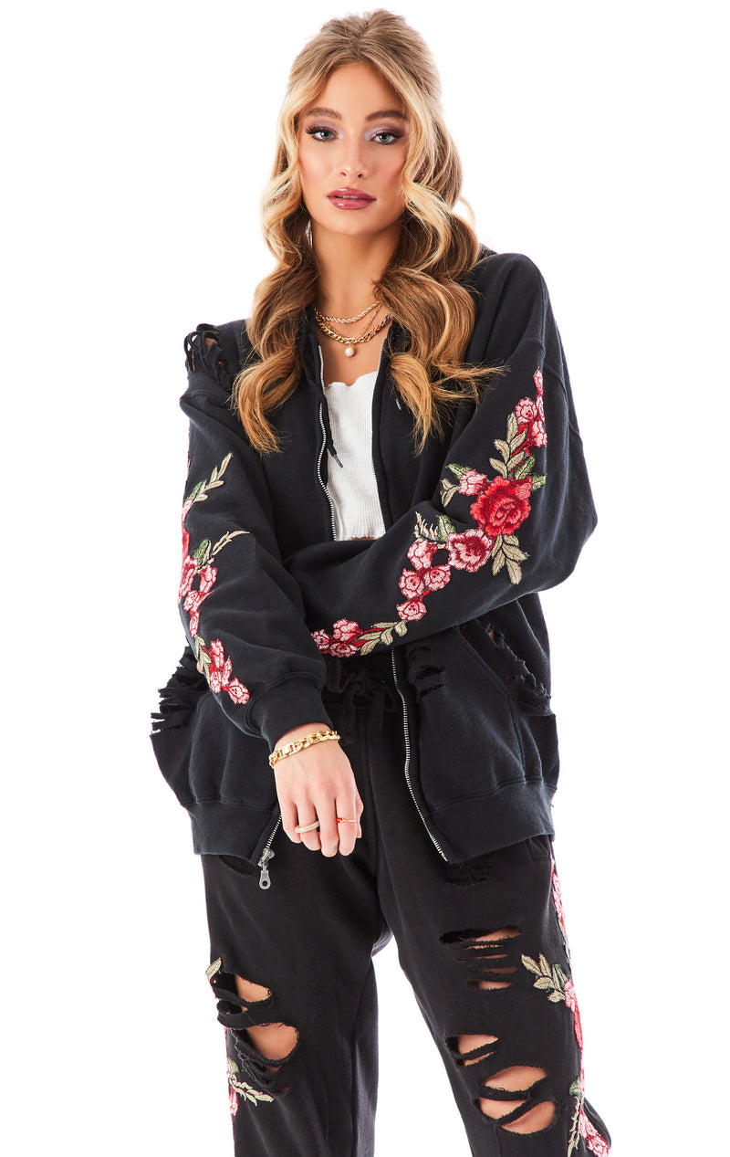 ROSE EMBROIDERED RIPPED ZIP UP BLACK 7