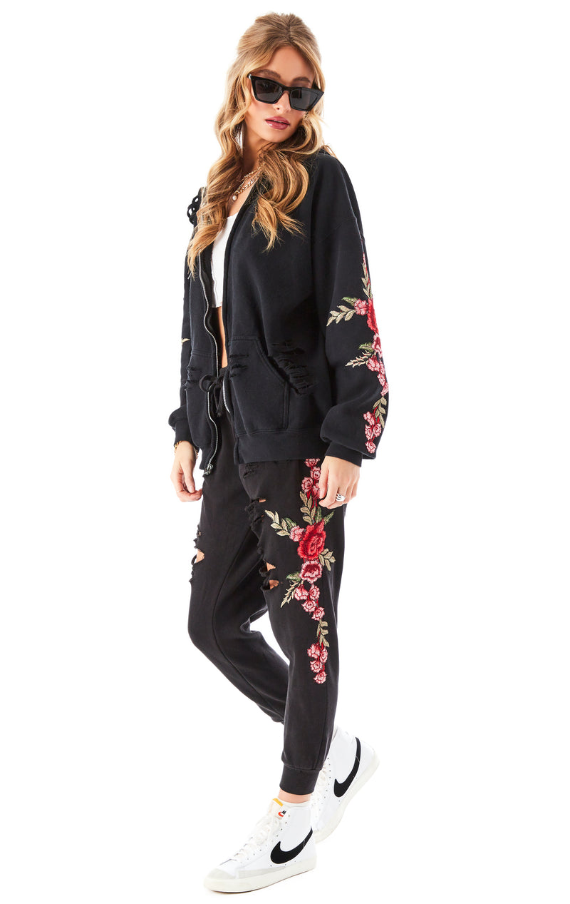 ROSE EMBROIDERED RIPPED ZIP UP BLACK 8