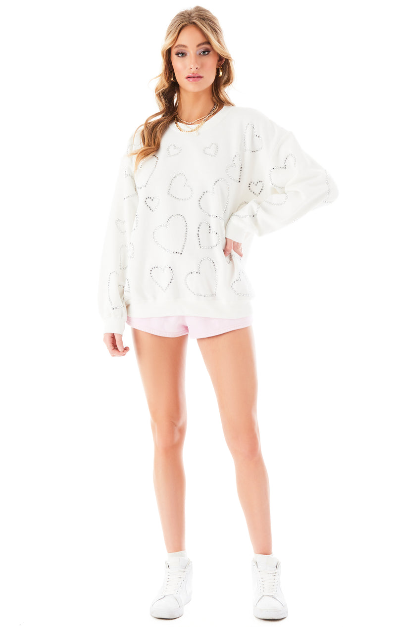 ALLOVER RHINESTONE HEART SWEATSHIRT WHITE 1