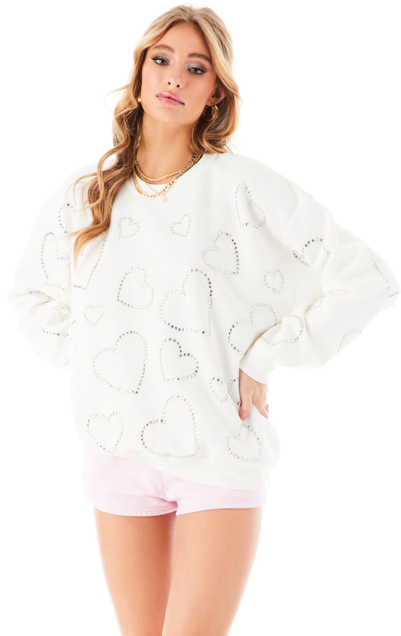 ALLOVER RHINESTONE HEART SWEATSHIRT WHITE 3