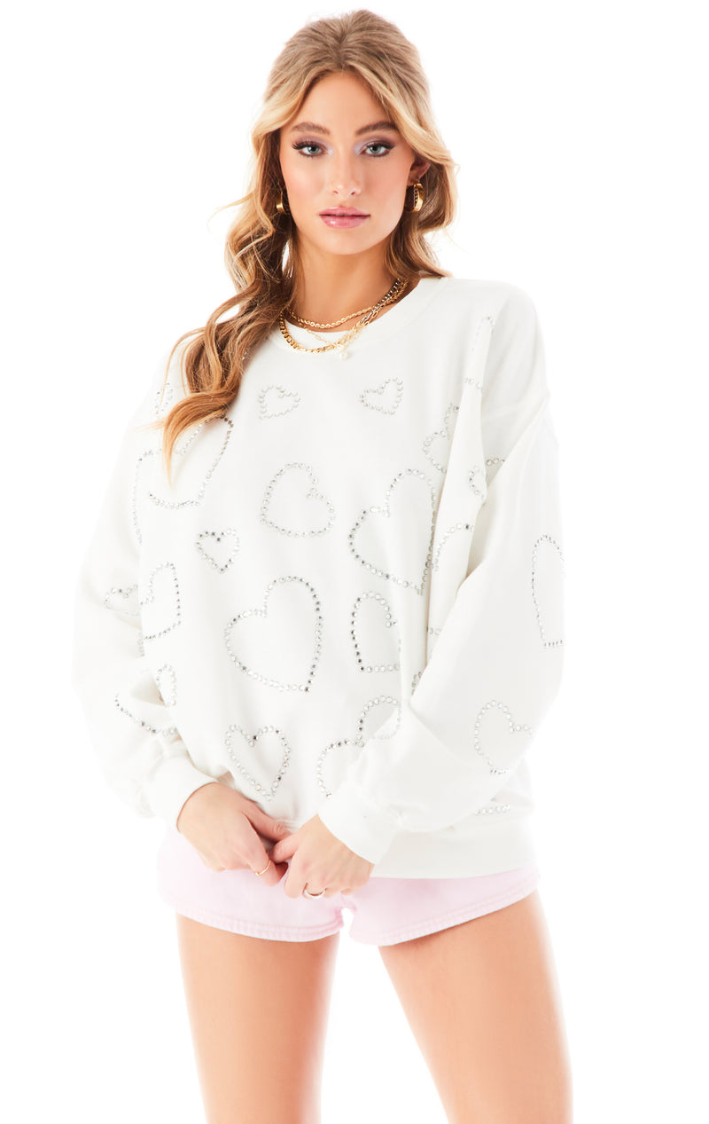 ALLOVER RHINESTONE HEART SWEATSHIRT WHITE
