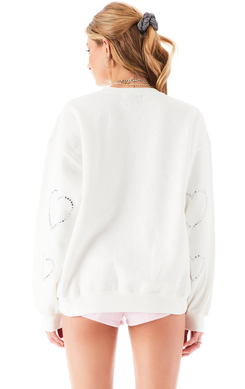 ALLOVER RHINESTONE HEART SWEATSHIRT WHITE 4