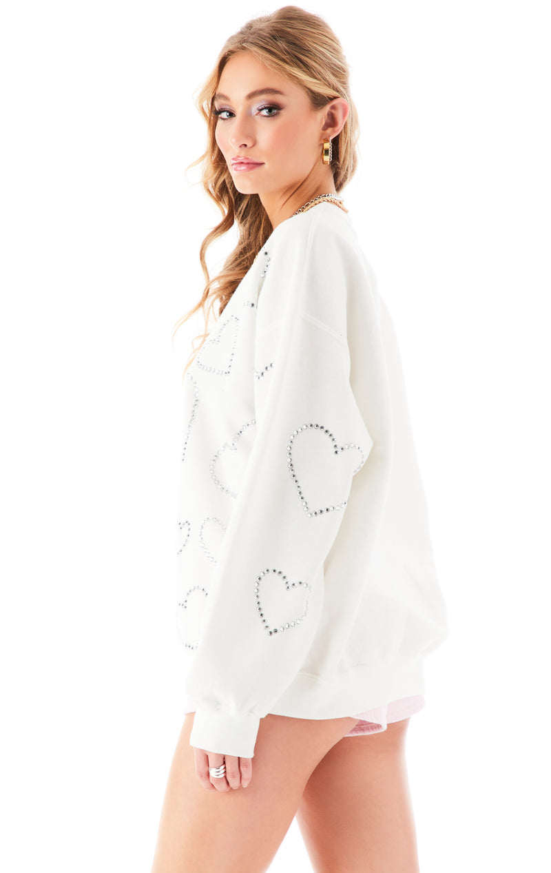 ALLOVER RHINESTONE HEART SWEATSHIRT WHITE 5