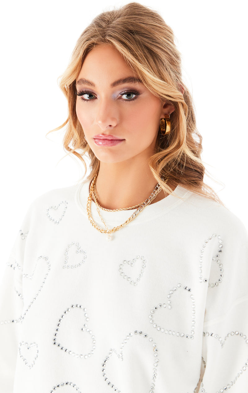 ALLOVER RHINESTONE HEART SWEATSHIRT WHITE 6
