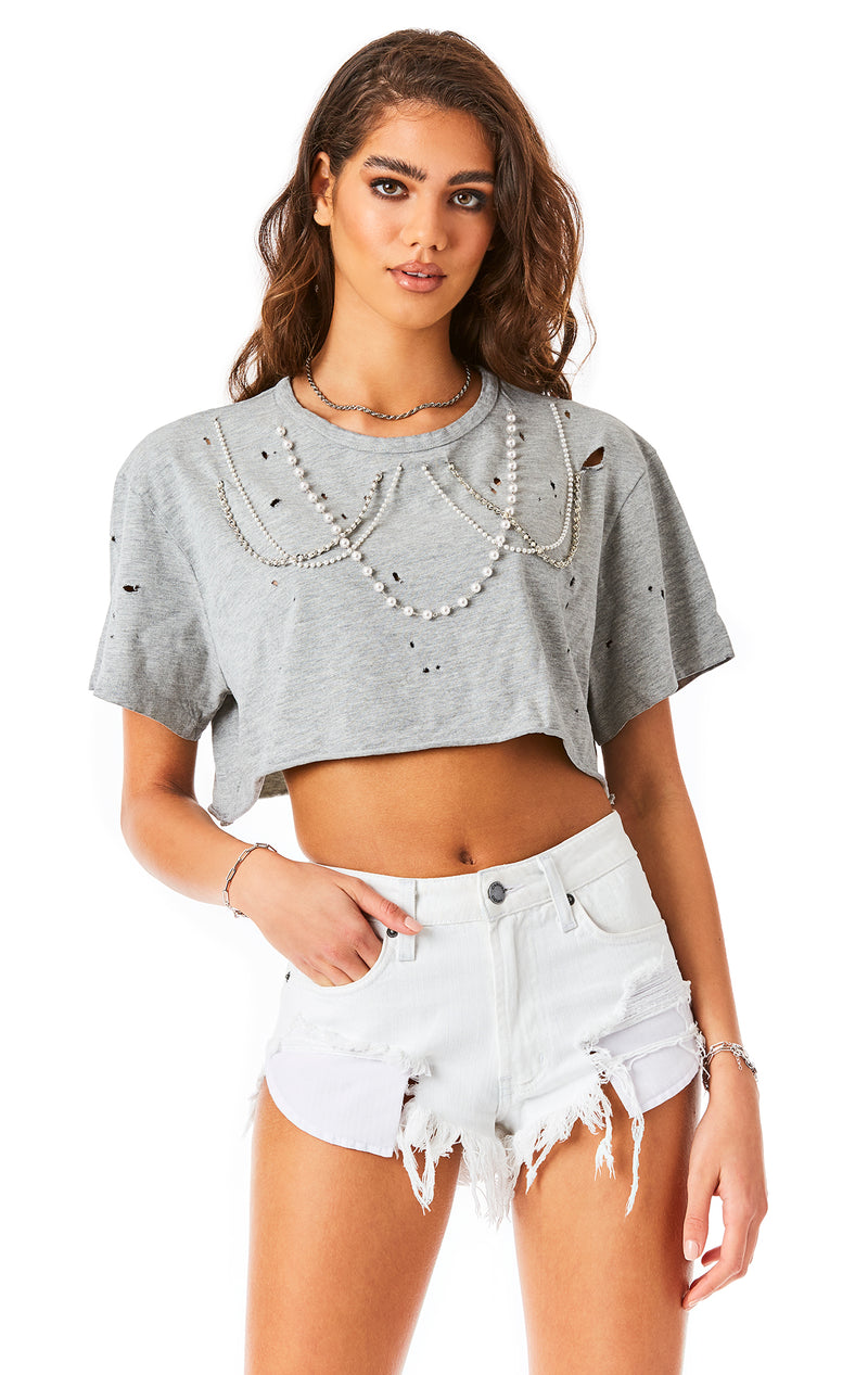 PEARL CHAIN CROP T-SHIRT