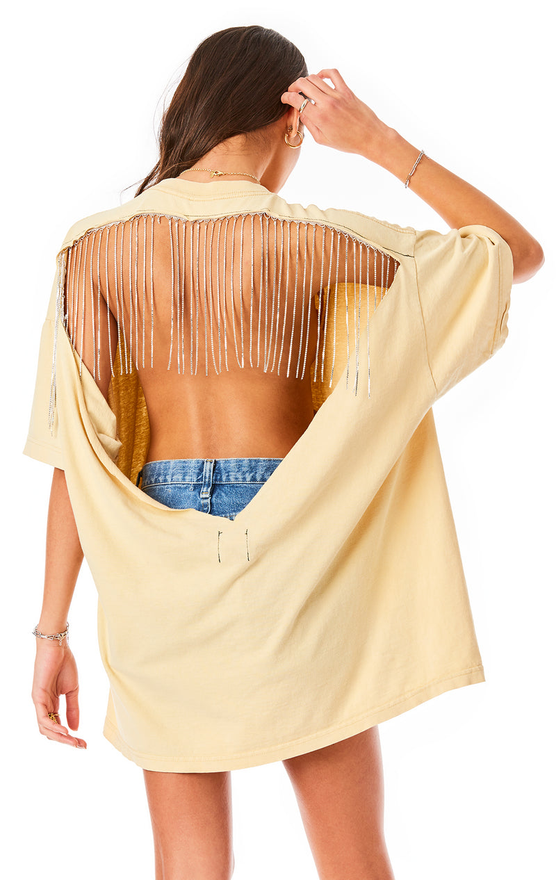 RHINESTONE FRINGE CUT OUT V BACK T-SHIRT