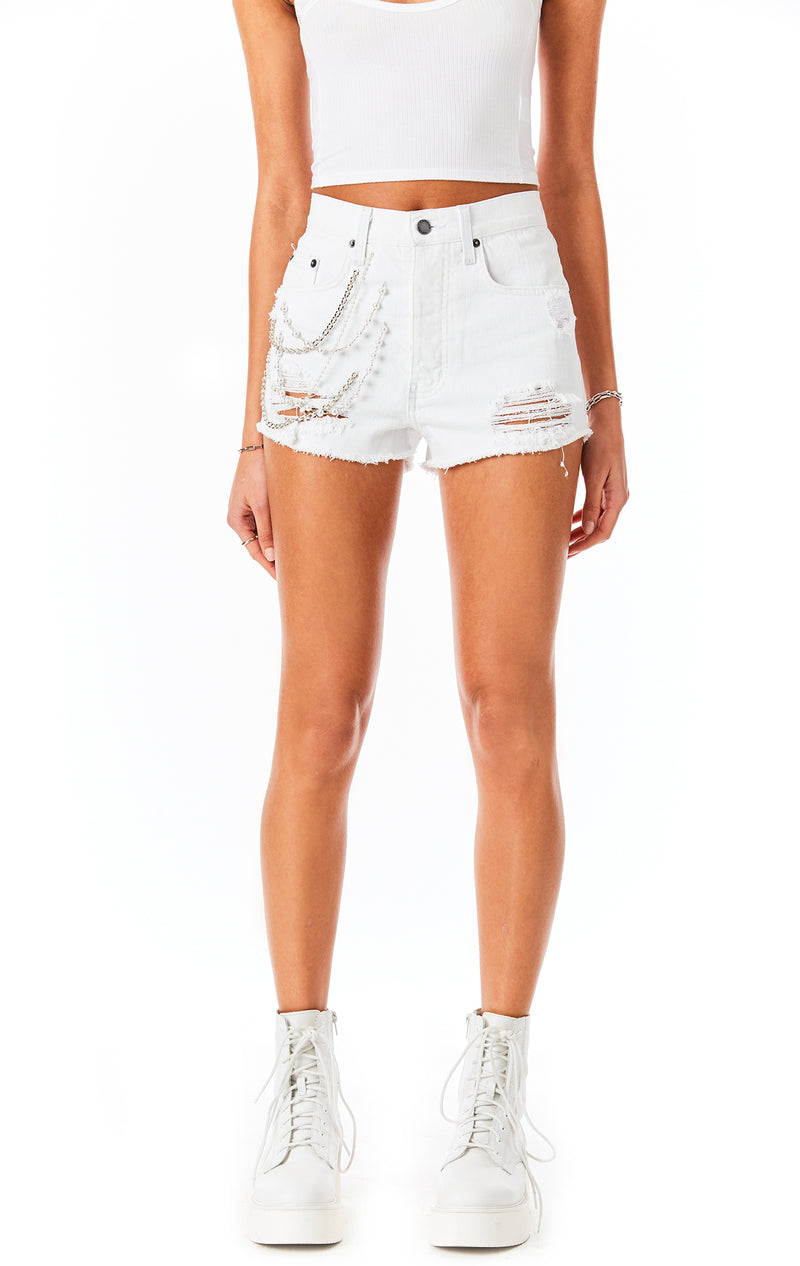 TITANIA WHITE PEARL CHAIN DENIM SHORT
