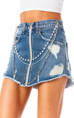 BEATRICE BELLE PEARL CHAIN DENIM SKIRT