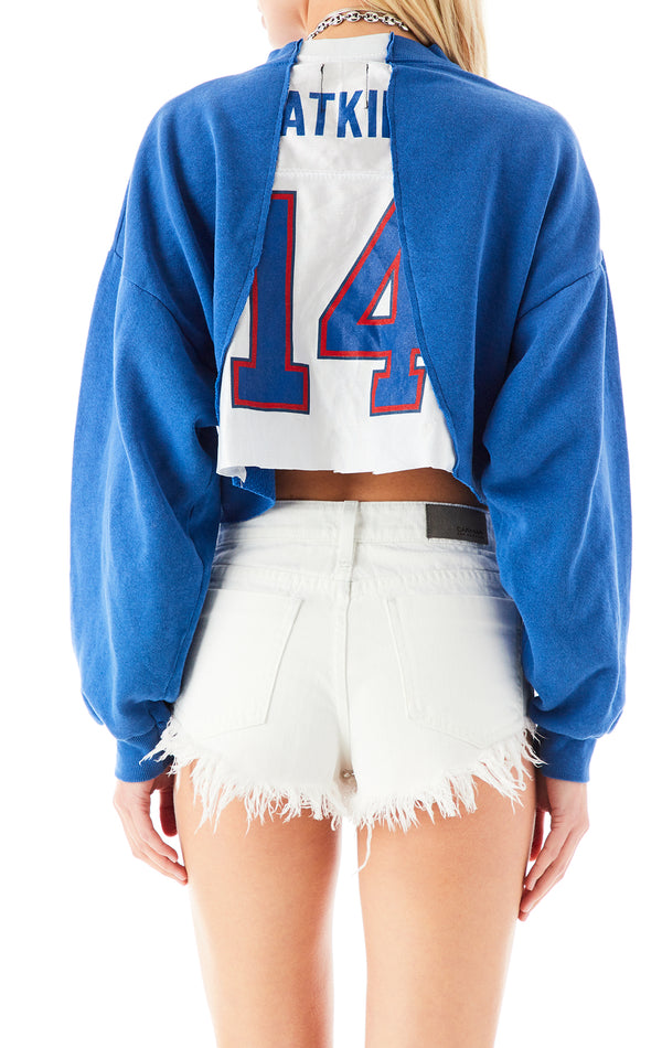 VINTAGE SPLICED JERSEY INSERT CROP SWEATSHIRT