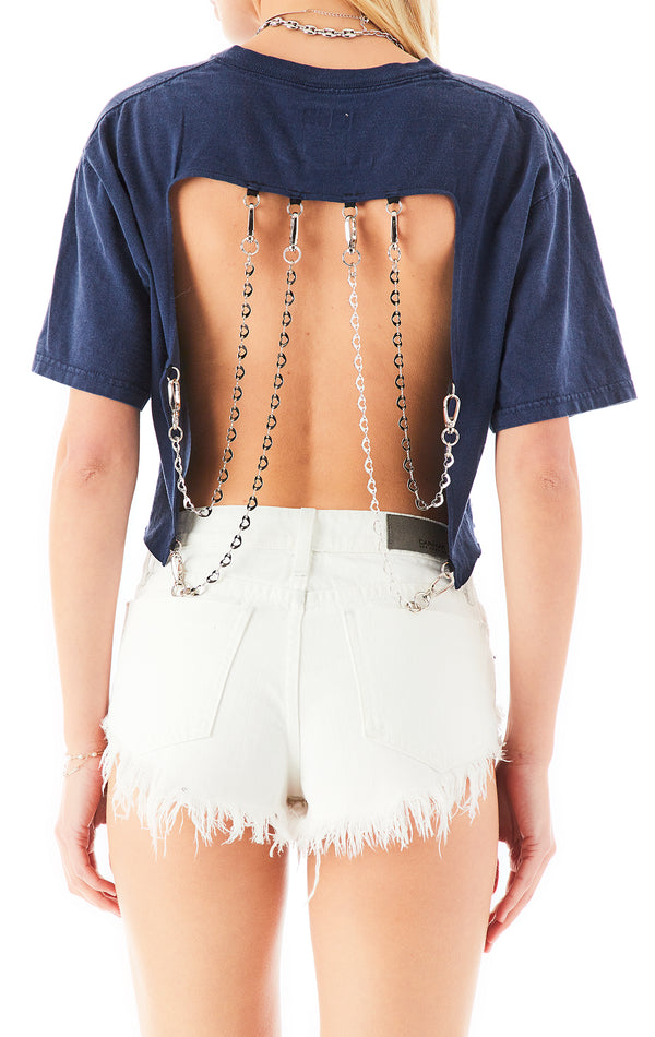 VINTAGE HEART CHAIN OPEN BACK CROP TEE