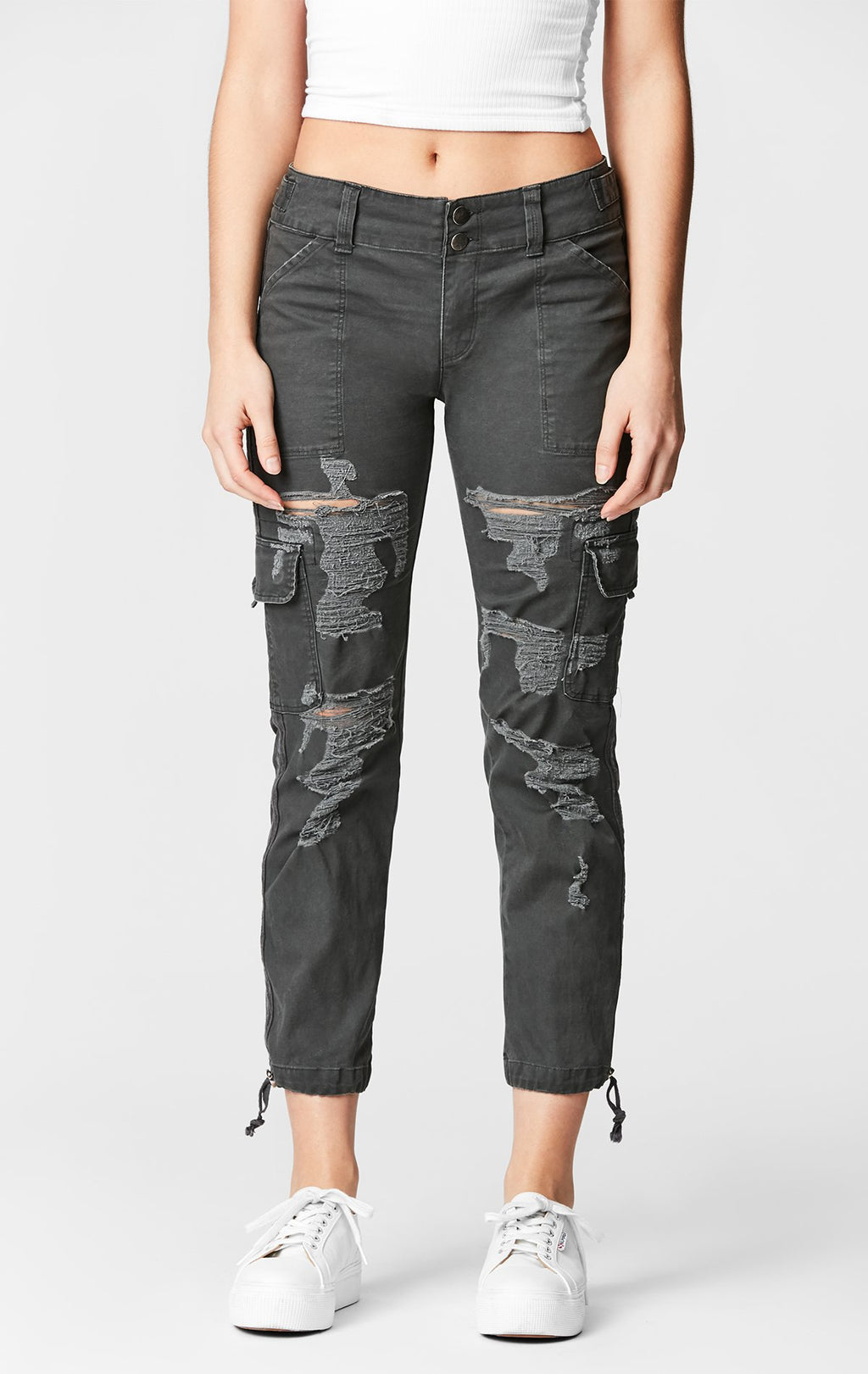 CARMAR DENIM SLIM FIT SHREDDED CARGO PANT CROP FRONT