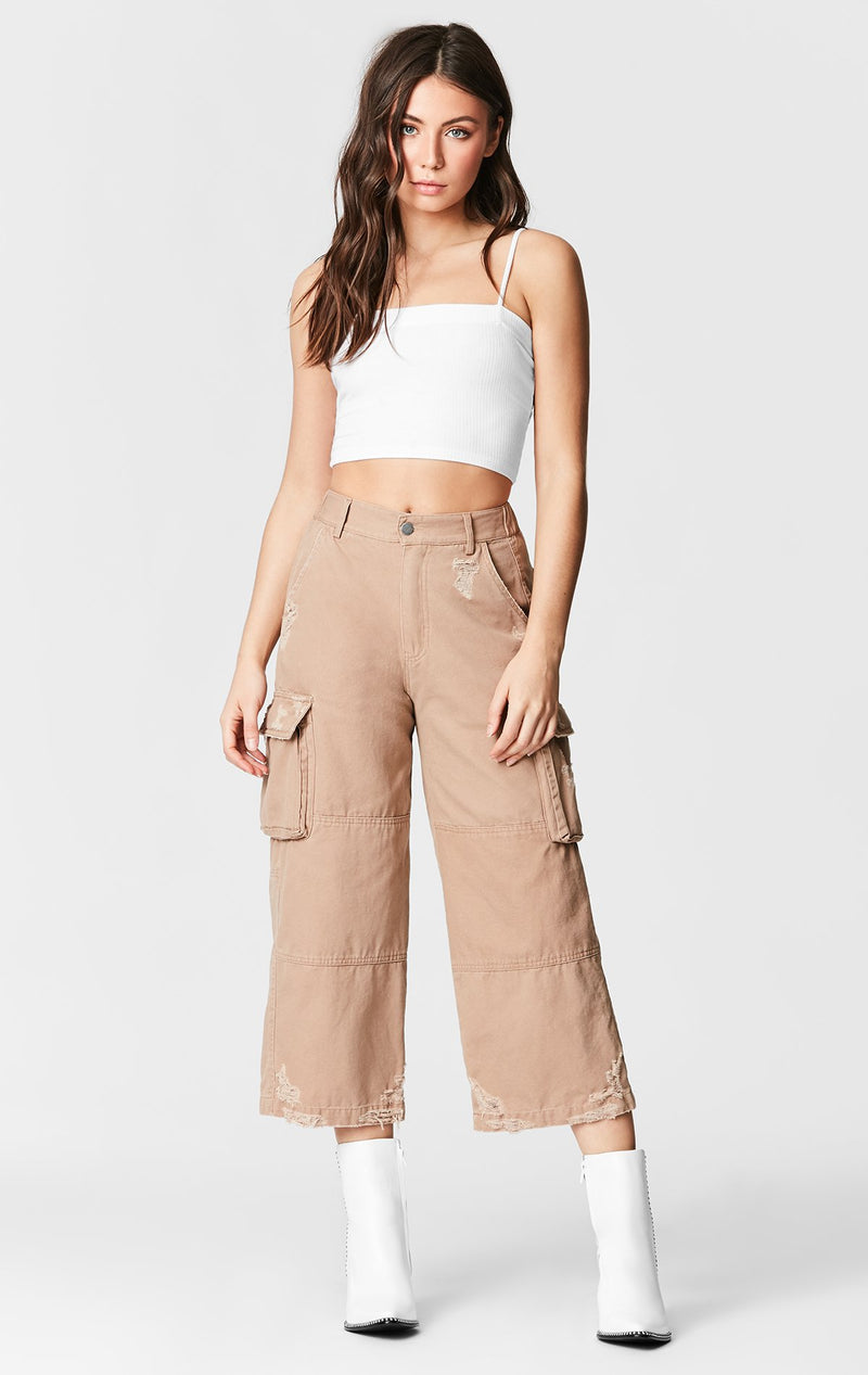 CARMAR DENIM WIDE LEG CARGO POCKET PANT FULL BODY
