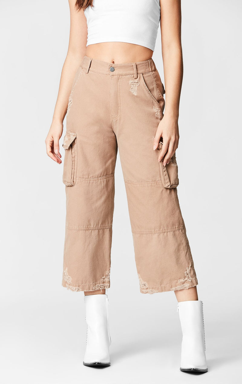 CARMAR DENIM WIDE LEG CARGO POCKET PANT CROP FRONT