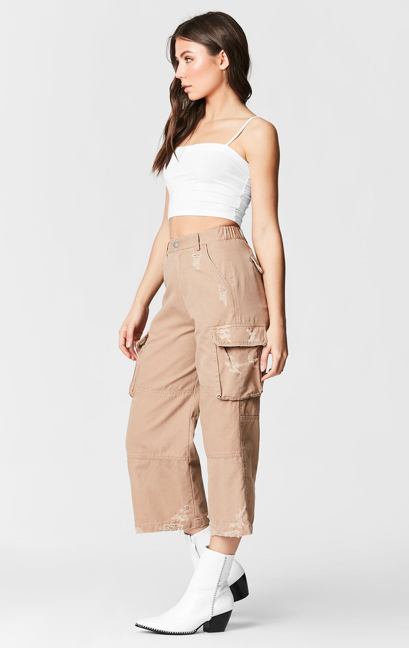 CARMAR DENIM WIDE LEG CARGO POCKET PANT SIDE