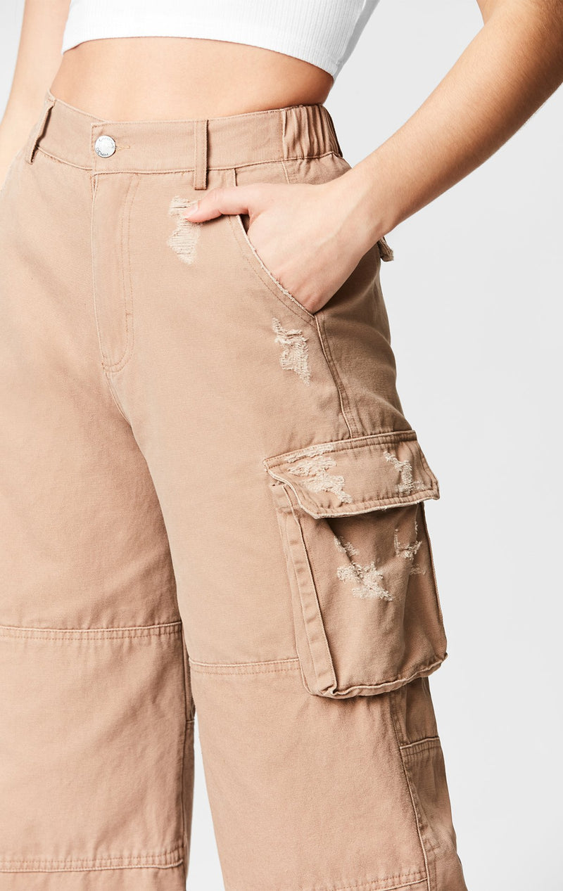 CARMAR DENIM WIDE LEG CARGO POCKET PANT DETAIL
