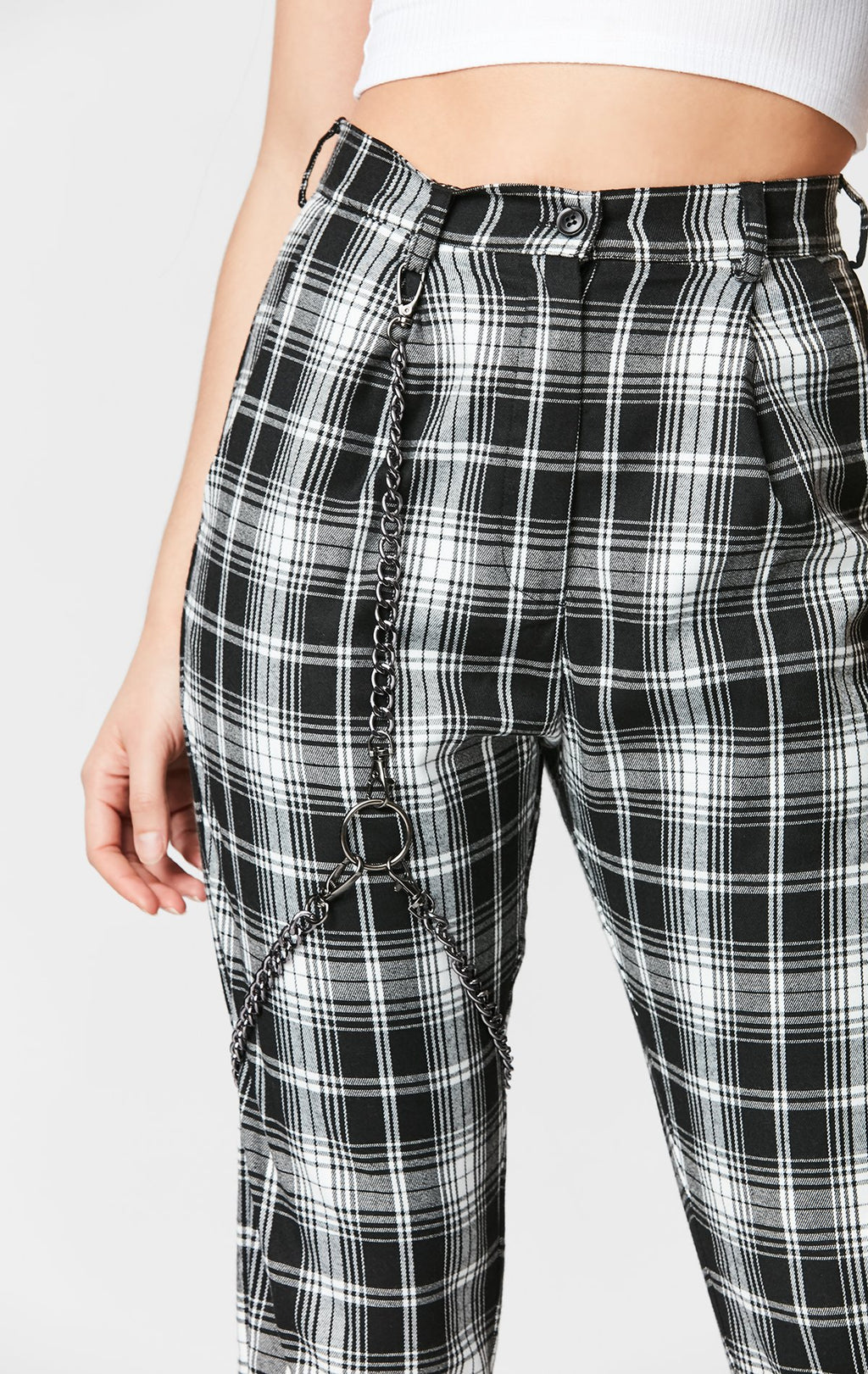 MAGS & PYE PLAID HARNESS PANT DETAIL