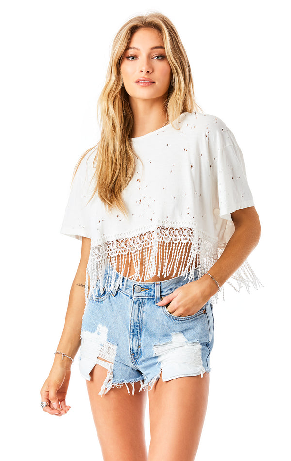 LACE FRINGE CROP T-SHIRT