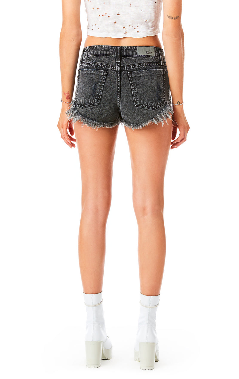 MOGAN CHARCOAL RHINESTONE FRINGE DENIM SHORT