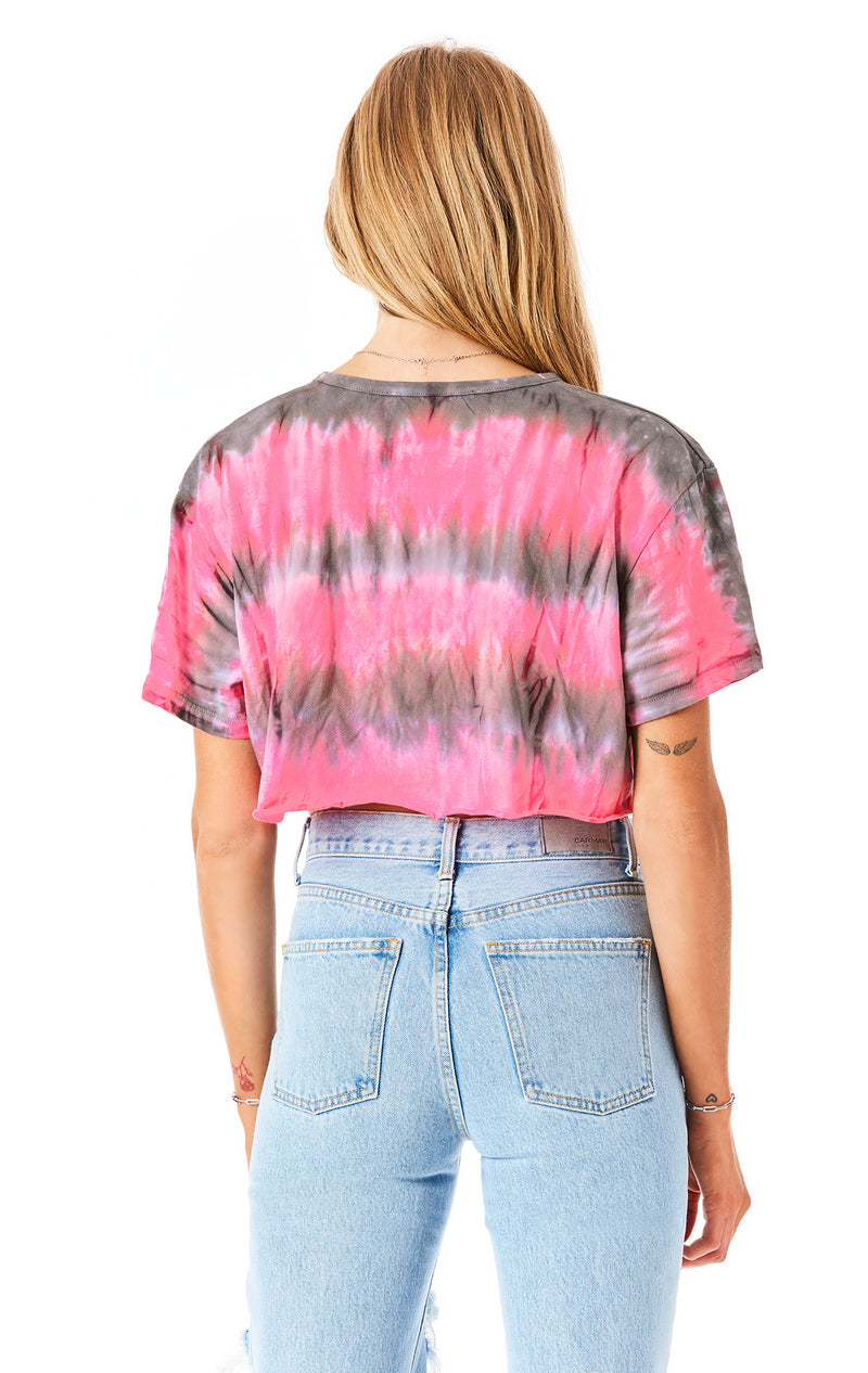HORIZONTAL TIE DYE CROP T-SHIRT