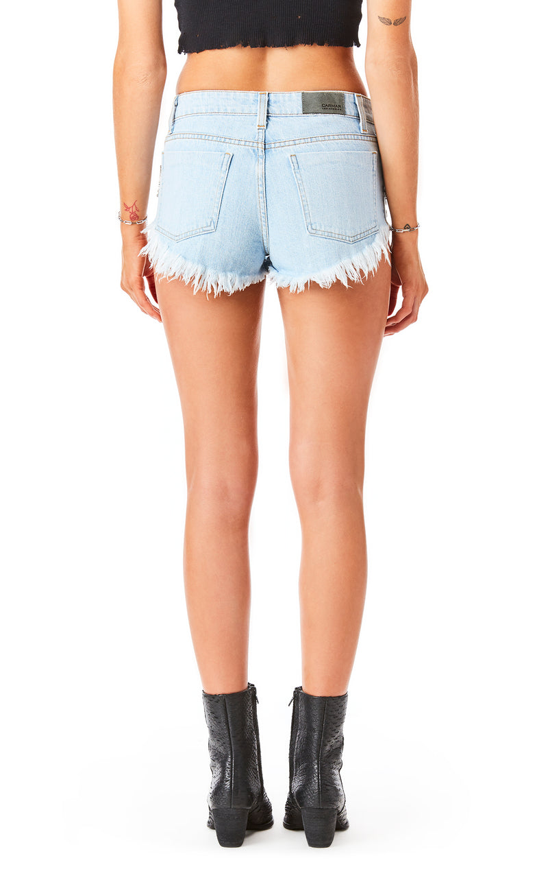 MOGAN AMERTINE RHINESTONE FRINGE DENIM SHORT