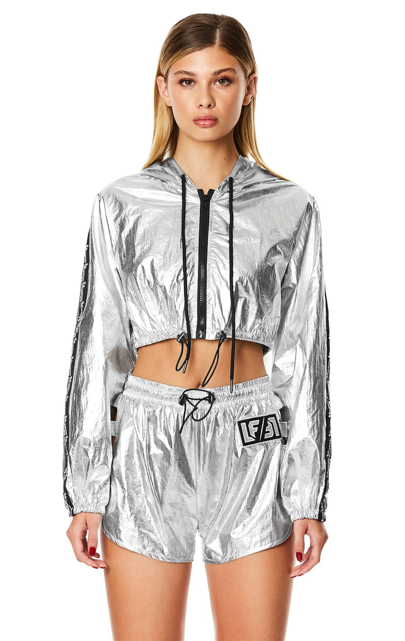 HOODED CROP WINDBREAKER JACKET