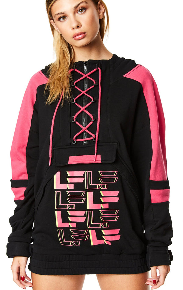 BUNGEE LACE UP CONTRAST PULLOVER SWEATSHIRT