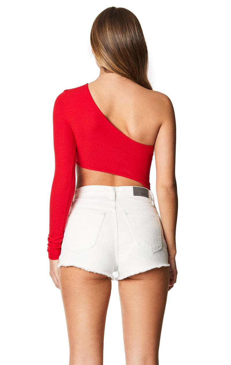 Emma & Sam: ONE SHOULDER CUTOUT LONG SLEEVE BODYSUIT - BODYSUIT