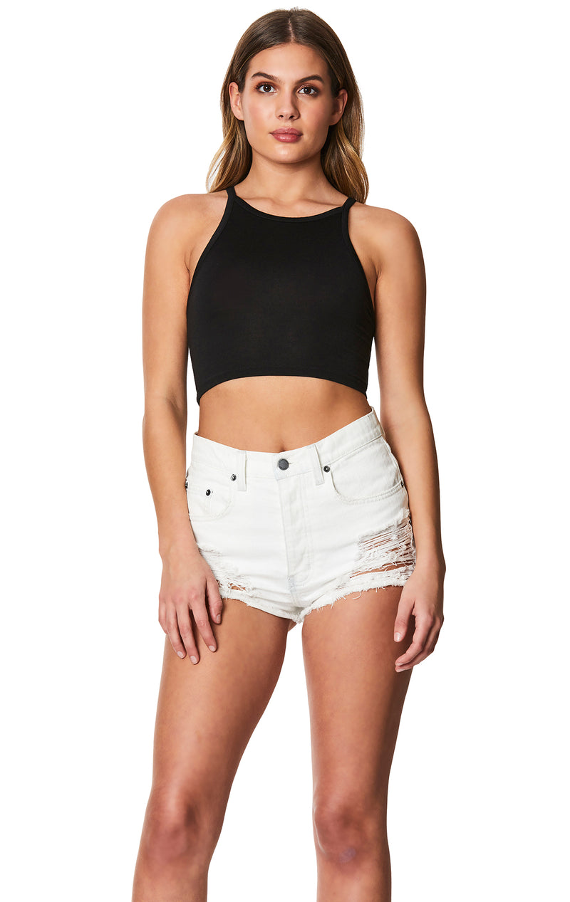 HIGH NECK CROP TANK FRONT