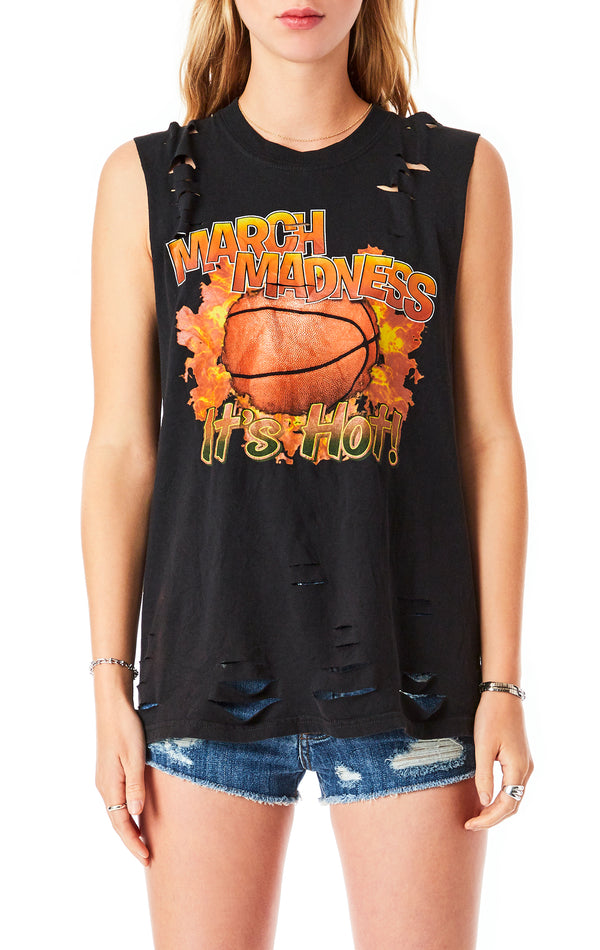 VINTAGE SLASHED SLEEVELESS T-SHIRT