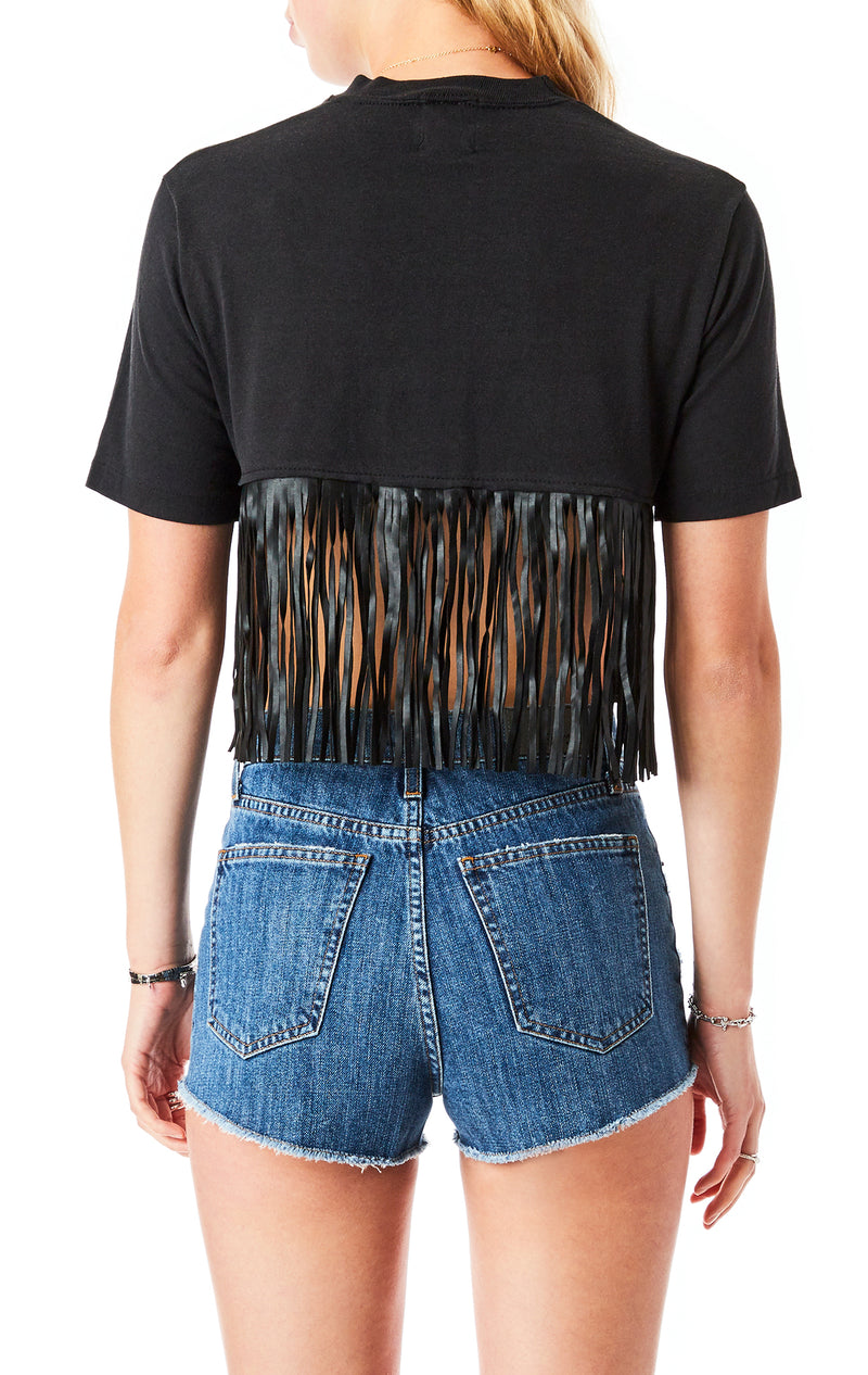 FRINGE BACK CROP T-SHIRT