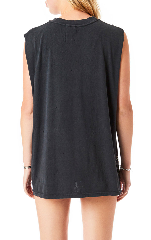 VINTAGE SLEEVELESS SAFETY PIN T-SHIRT