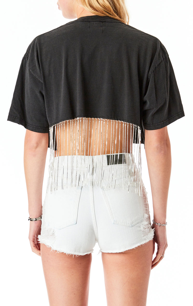 RHINESTONE FRINGE BACK CROP T-SHIRT