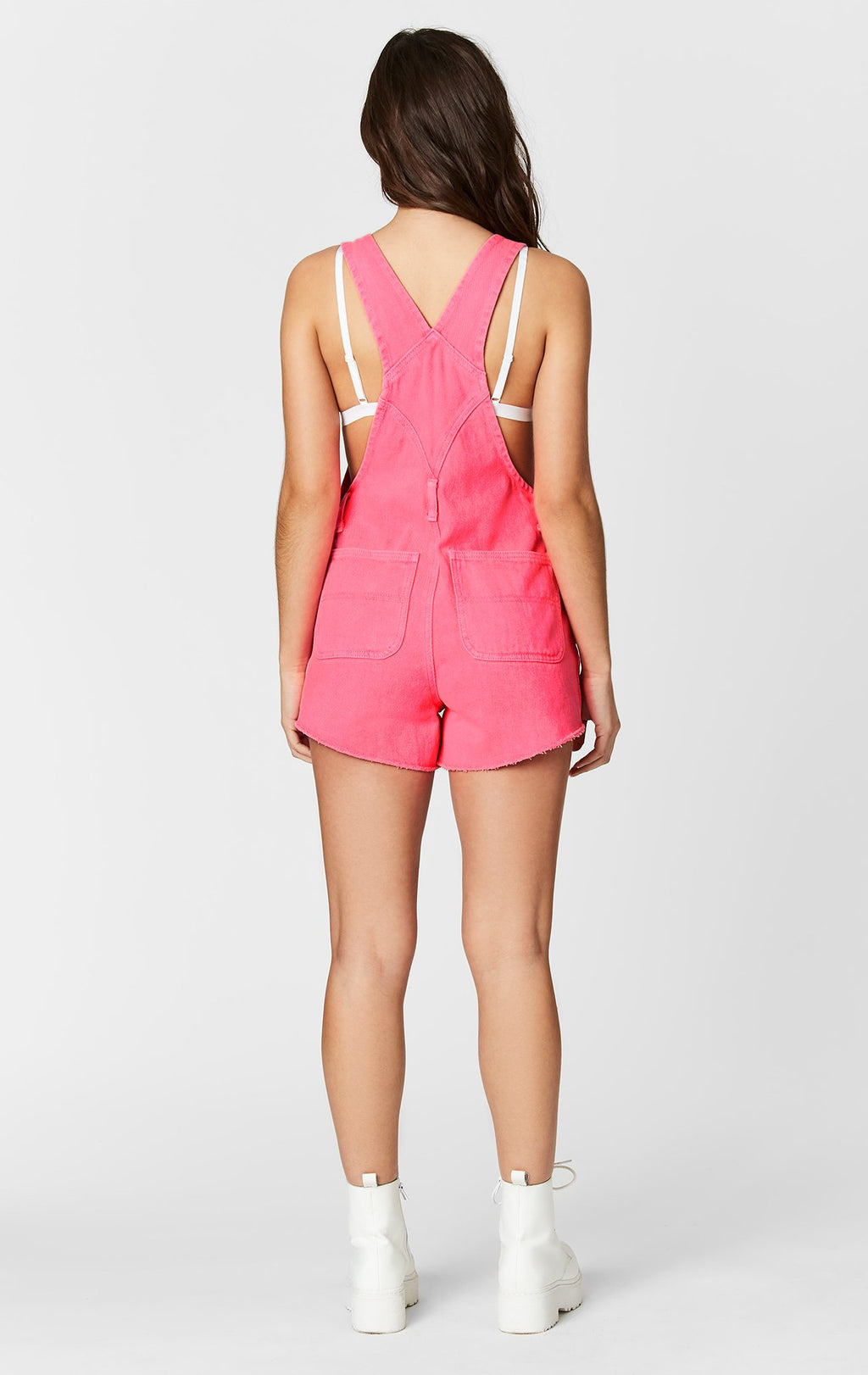 NEON PINK SHORTALL WITH SHREDDING