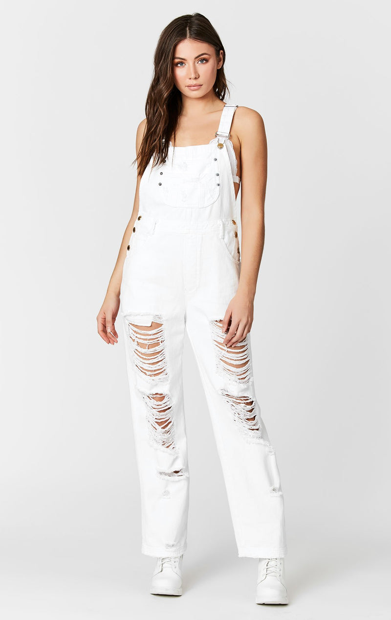 CARMAR DENIM WHITE DENIM OVERALLS WITH SHREDDING FULL FRONT