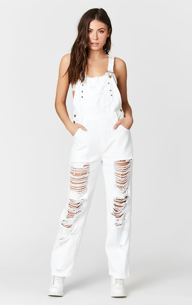 CARMAR DENIM WHITE DENIM OVERALLS WITH SHREDDING FRONT