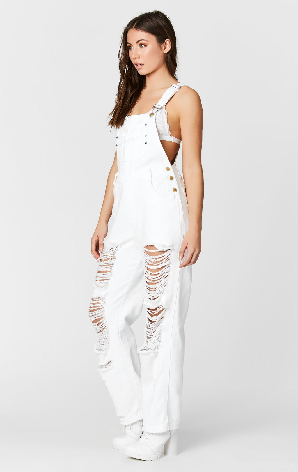 CARMAR DENIM WHITE DENIM OVERALLS WITH SHREDDING SIDE