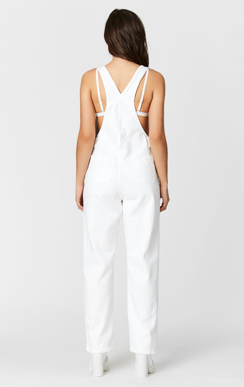 CARMAR DENIM WHITE DENIM OVERALLS WITH SHREDDING BACK