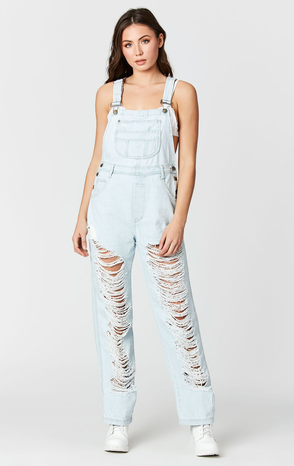 CARMAR DENIM JERICHO SUPER SHRED DENIM OVERALL FRONT