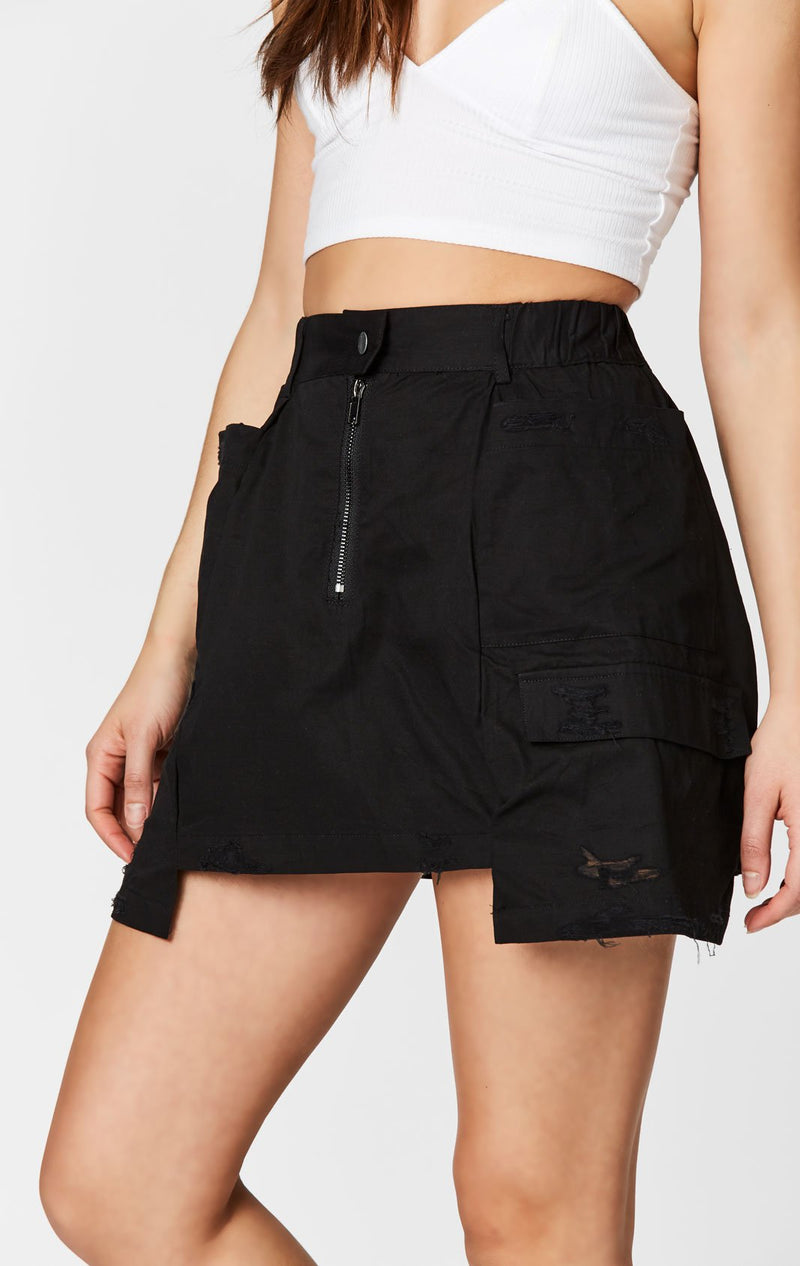 CARMAR DENIM EXTENDED SIDE CARGO POCKET SKIRT SIDE