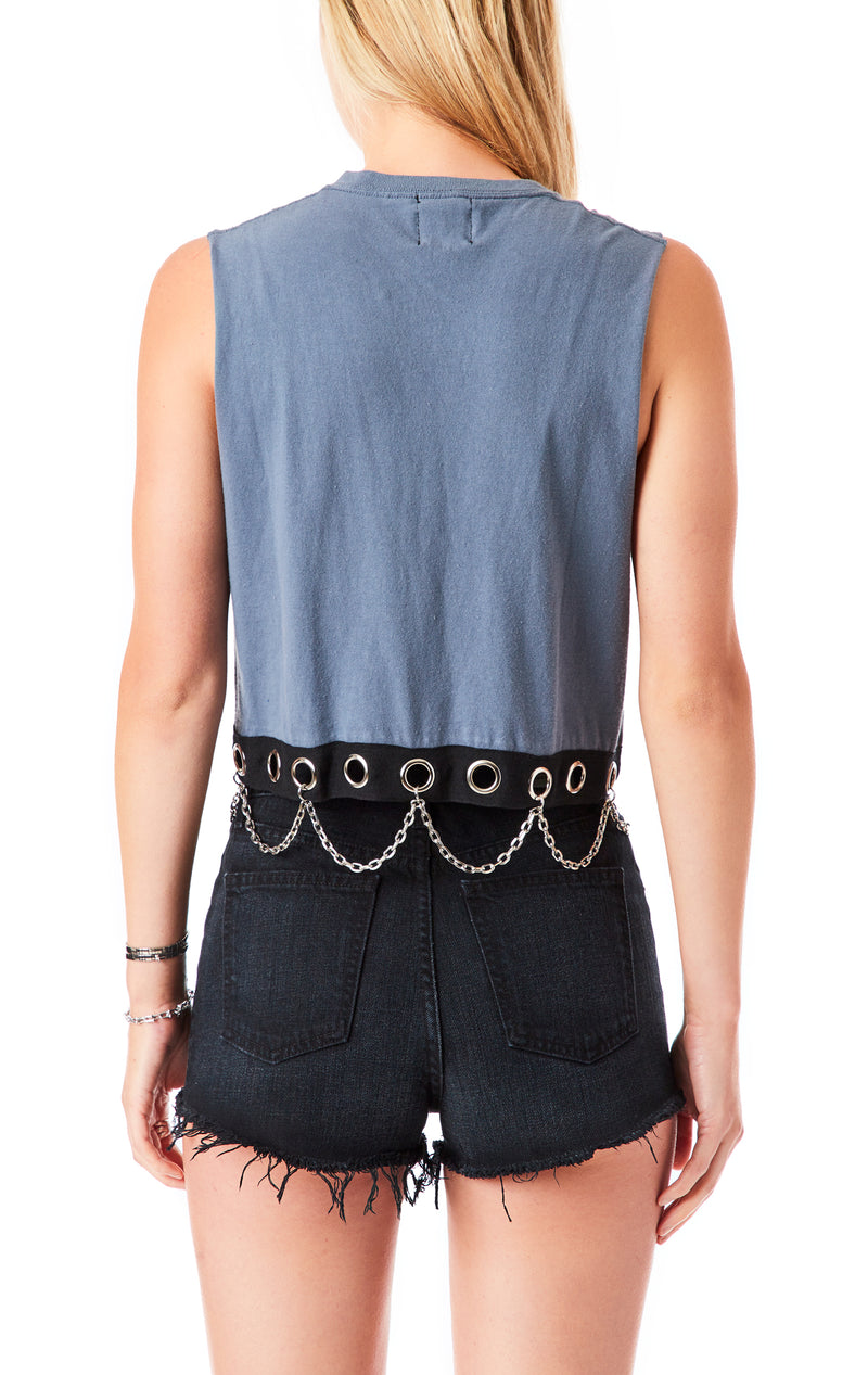 VINTAGE GROMMET CHAIN SLEEVELESS CROP T-SHIRT