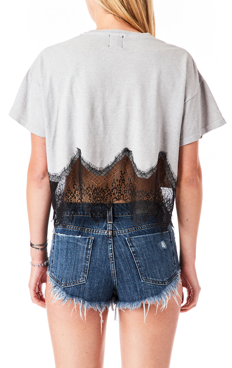 SCALLOP LACE CROP T-SHIRT
