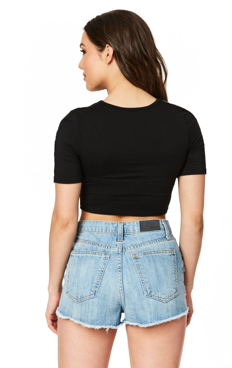 SHORT SLEEVE CUTOUT CROP TEE WITH GROMMETS