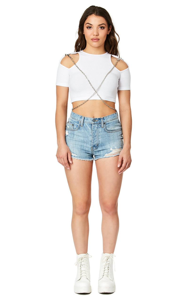 Emma & Sam: CROSS CHAIN CUT OUT SHOULDER TEE - NOVELTY TEE