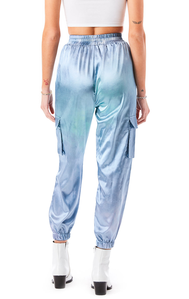 CLOUD TIE DYE SATIN CARGO PANT