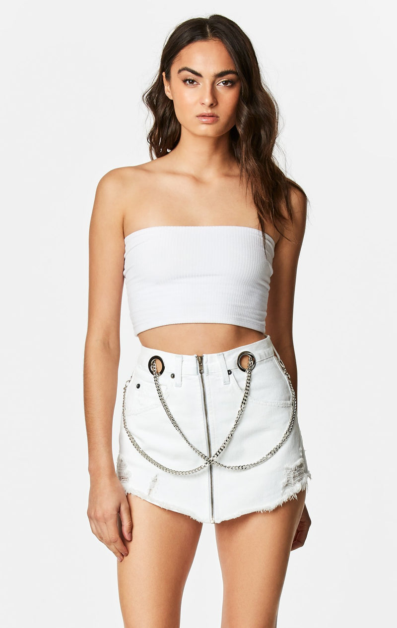 CARMAR DENIM WHITE BEATRICE ZIP FRONT CHAIN SKIRT CROP FRONT